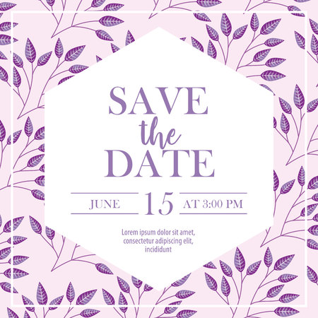 save the date time day celebrate leaves background vector illustration 스톡 콘텐츠 - 112790368