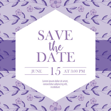 save the date purple ribbon frame sign decoration leaves vector illustration Фото со стока - 112790365