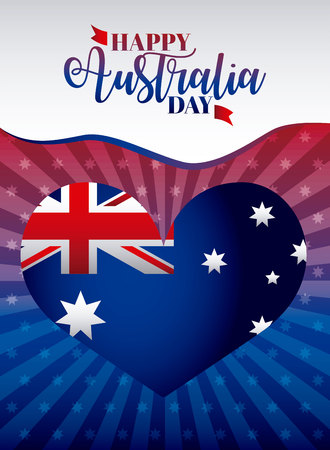 australia day heart flag wave stripes decoration vector illustration
