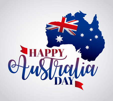 happy australia day map flag celebrate vector illustration