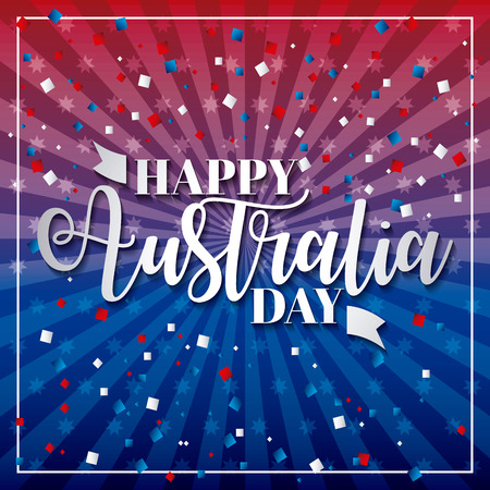 happy australia day frame confetti celebration day vector illustration