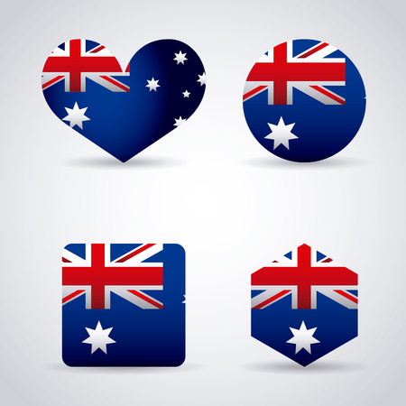 australia day stickers heart circle shield flag vector illustration