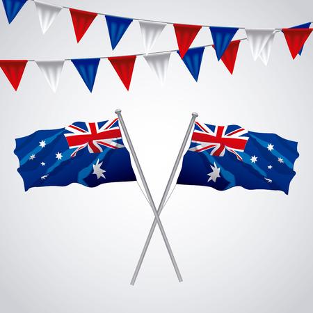 australia day pennants flags decoration background vector illustration