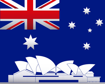 australia day flag sydney background vector illustration