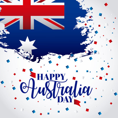 grunge map flag australia day confetti vector illustration