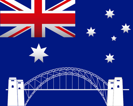 australia day sydney harbor bridge flag background vector illustration