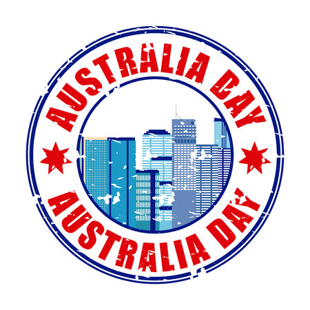 vintage sticker australia day city vector illustration