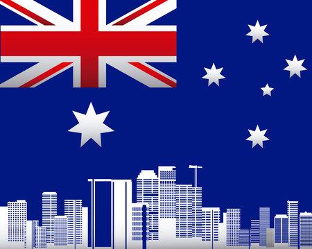 australia day stars flag city buildings background vector illustration