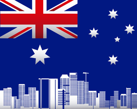 australia day stars flag city buildings background vector illustration