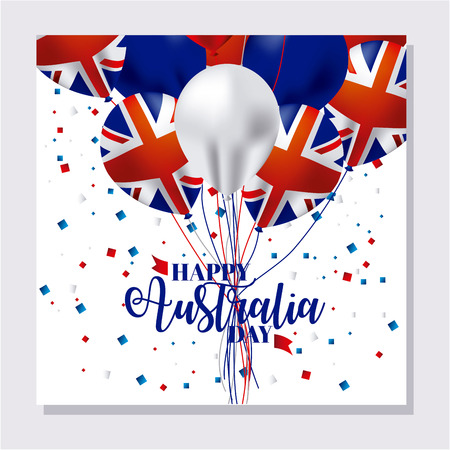 australia day card confetti balloons flag vector illustration