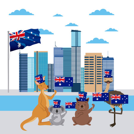 australia day celebration brisbane animals with flags vector illustration Çizim