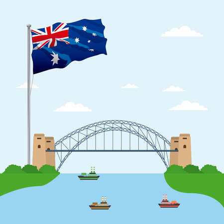 australia place flag ships lake sydney harbor bridge vector illustration
