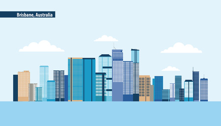 australia place brisbane capital clouds vector illustration