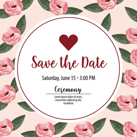 save the date sticker heart invitation roses background vector illustration Фото со стока - 112790408