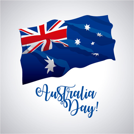 australia day wave flag celebrate date vector illustration