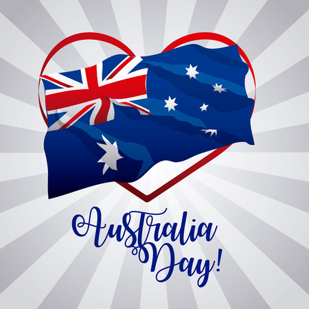 australia day heart wave flag stripes background vector illustration Çizim