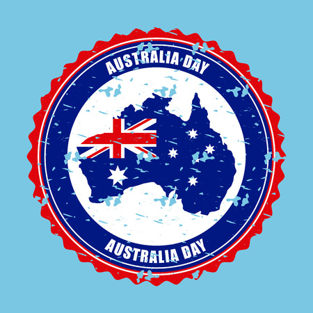 australia day sticker sign grunge map vector illustration Çizim