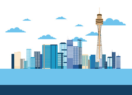 australia place sydney tower ocean clouds vector illustration