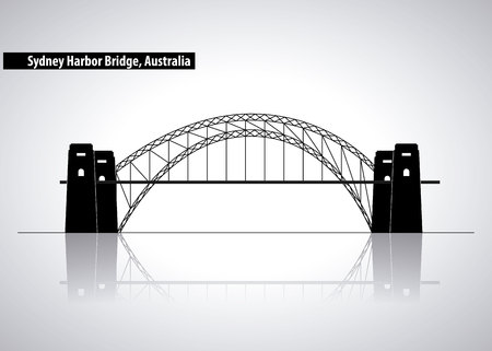 australia place sydney harbor bridge vector illustration