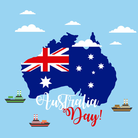 australia day map flag ships ocean vector illustration