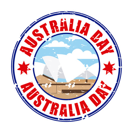 australia day sticker sydney theather operates vector illustration