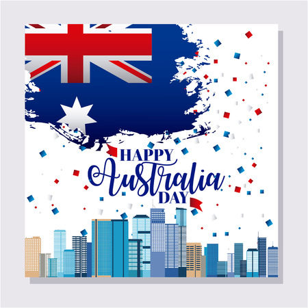 card australia day city brisbane confetti map flag vector illustration  イラスト・ベクター素材