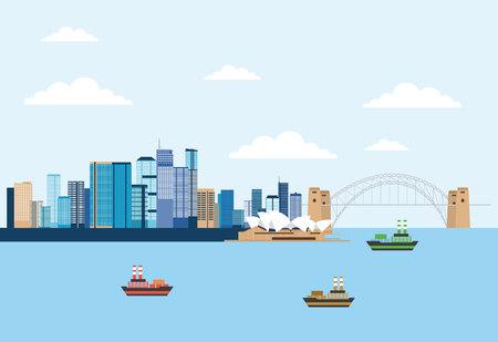 オーストラリアプレイスブリスベンシドニー劇場船ベクトルイラスト  イラスト・ベクター素材