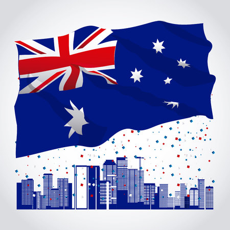 australia day confetti city wave flag vector illustration