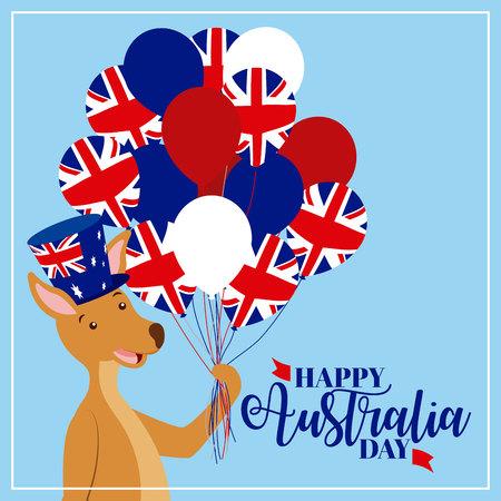 australia animal cute kangaroo holding balloons vector illustration Stok Fotoğraf - 127275813