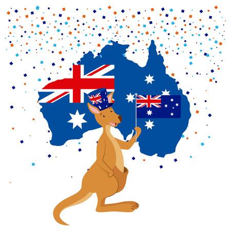 australia day celebration confetti kangaroo map flag vector illustration