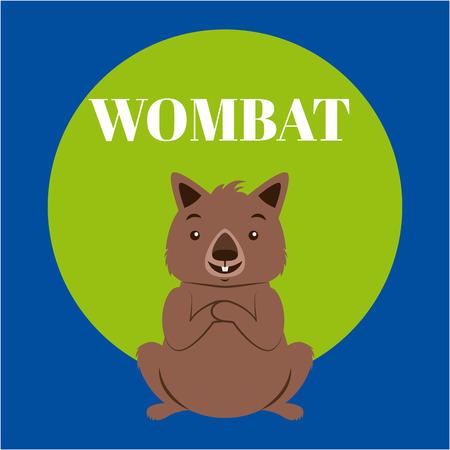 australia cute animal beaver sticker vector illustration Illustration