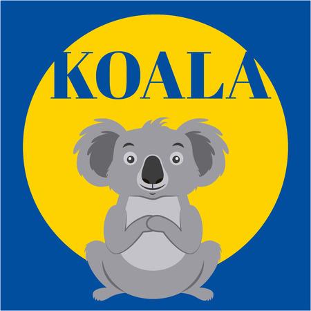 Australia animal lindo koala pegatina ilustración vectorial
