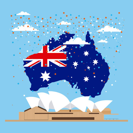 australia day celebration confetti map flag sydney vector illustration