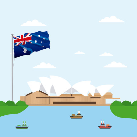 australia place ships sydney theater flag vector illustration