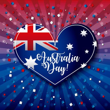 australia day heart flag confetti stripes background vector illustration 版權商用圖片