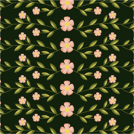 flowers and leaves decoration background vector illustration
