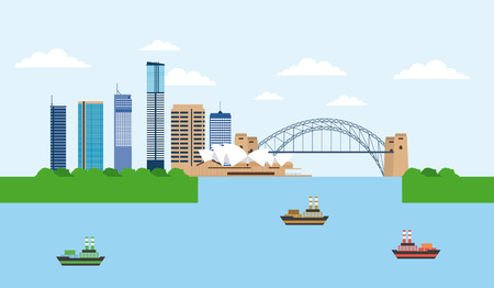 australia places ships sydney theather vector illustration  イラスト・ベクター素材