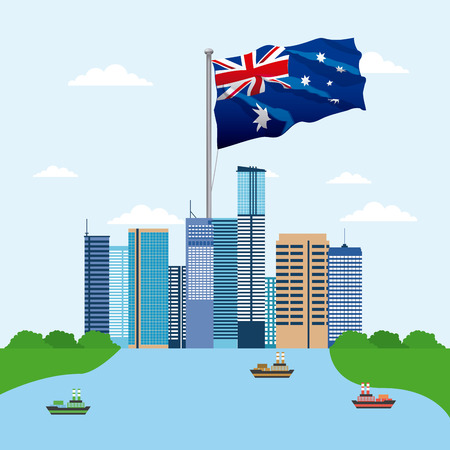 australia place brisbane flag ships vector illustration