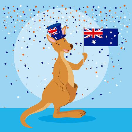 australia day celebration kangaroo cute holding flag vector illustration