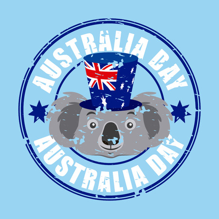 australia day celebration sticker stars koala with hat vector illustration