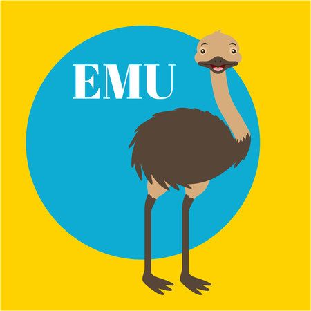 australia animal cute emu sticker color vector illustration