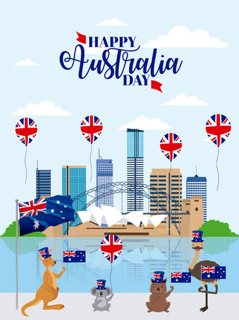 australia day celebration brisbane balloons animals with flags vector illustration