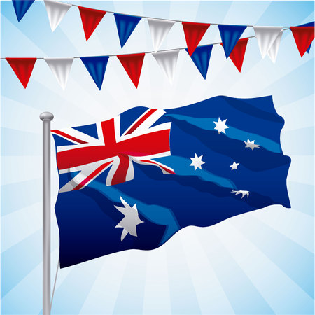 australia day celebration flag pennants degrade background vector illustration