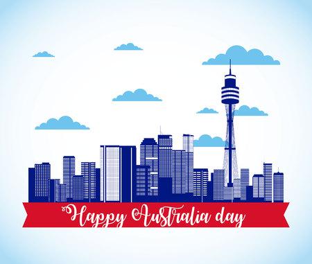 happy australia day ribbon sydney vector illustration