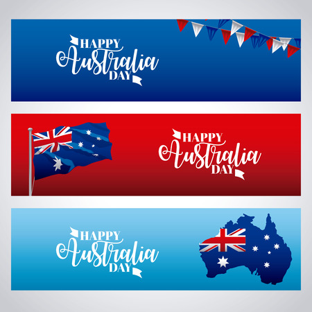 happy australia day banners pennants map flag celebration vector illustration Stock Illustratie