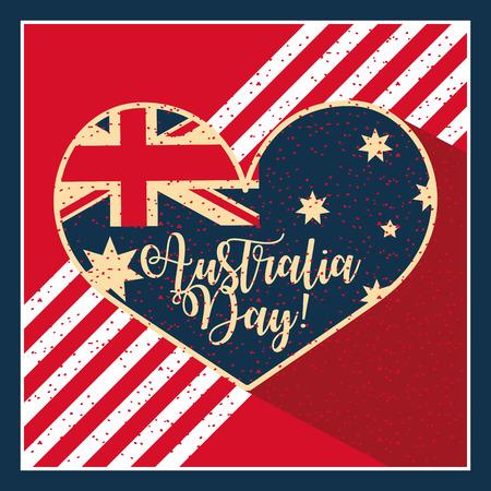 happy australia day frame heart flag sign vector illustration  イラスト・ベクター素材