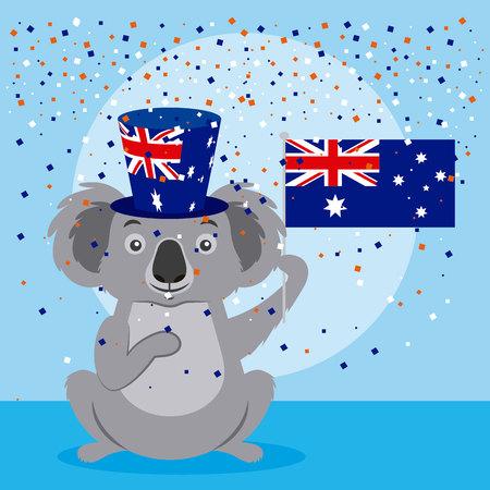 australia day celebration cute koala holding flag vector illustration Stock Illustratie
