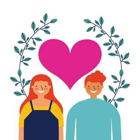 together girl and boy love heart leaves vector illustration