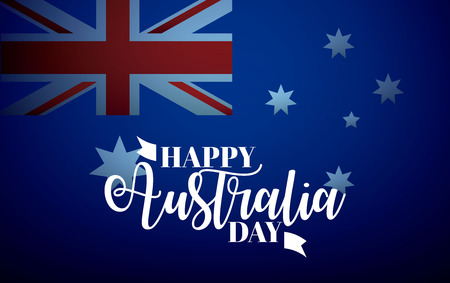 happy australia day stars flag background vector illustration Illustration