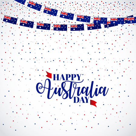 happy australia day pennants confetti decoration celebrate vector illustration